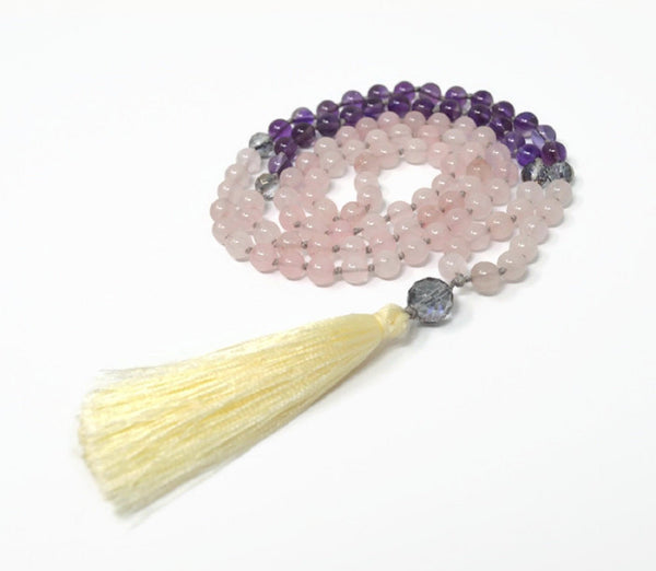 Hand Knotted Rose Quartz Amethyst & Mystic Quartz Gemstone Mala Necklace with FREE Angel Aura Necklace. 108 Mala with Tassel