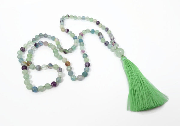 Hand Knotted Natural Fluorite Gemstone Mala Necklace
