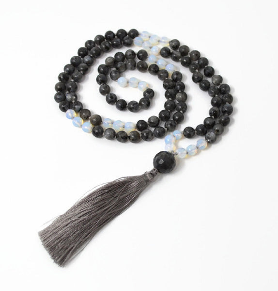 Hand Knotted Larvikite & Opalite Gemstone Mala Necklace with FREE Angel Aura Necklace. 108 Mala with Tassel