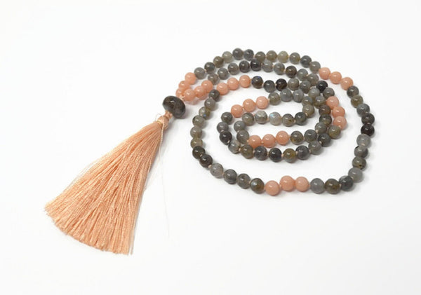 Hand Knotted Labradorite & Sunstone Gemstone Mala Necklace