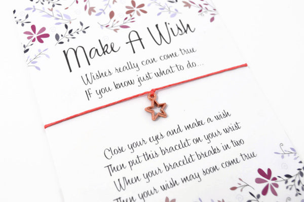 Wish Bracelet - Rose Gold Star Good Luck Charm Gift. Lucky String Bracelet. Choice of Colours Wish Knots