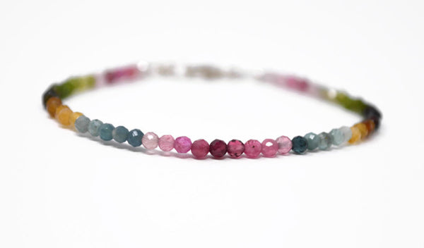 Watermelon Tourmaline Sterling Silver Bracelet. Graduated Multi Coloured Gemstone 925 Silver Bracelet. Birthstone Gift. Rainbow Tourmaline