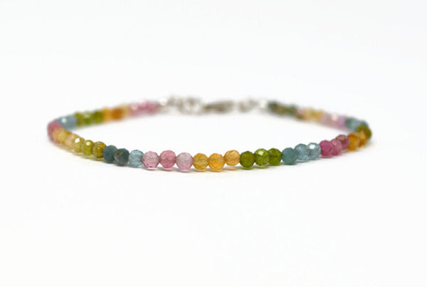 Sterling Silver Watermelon Tourmaline Bracelet. Multi Coloured Gemstone 925 Silver Bracelet. Birthstone Gift. Rainbow Tourmaline