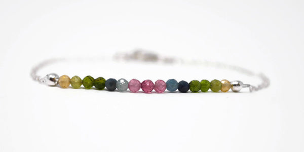 Sterling Silver Watermelon Tourmaline Bar Bracelet. Multi Coloured Gemstone .925 Silver Chain Bracelet. Birthstone Gift. Rainbow Tourmaline