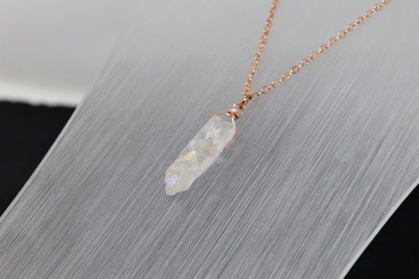 Rose Gold Angel Aura Necklace - Rose Gold Plated Chain - Choose Length