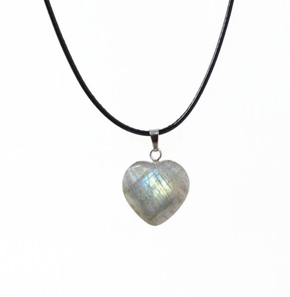 Genuine Labradorite Gemstone Heart Necklace. Labradorite Heart Black Cord Necklace. Adjustable. Wish Knots.