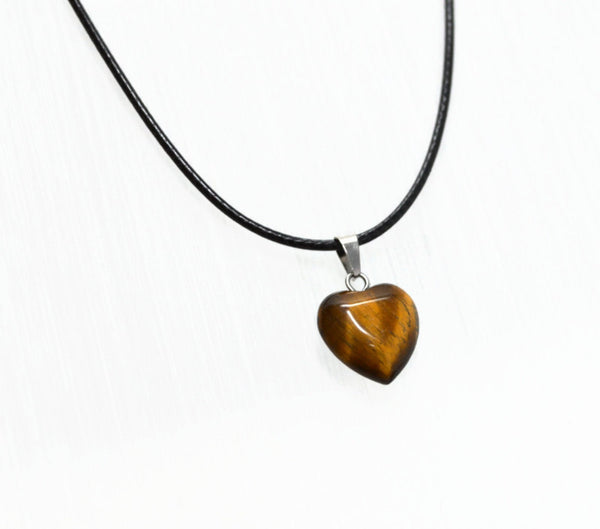 Genuine Natural Tiger's Eye Gemstone Heart Necklace. Tiger Eye Heart Black Cord Necklace. Adjustable. Wish Knots.
