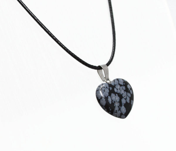 Genuine Snowflake Obsidian Heart Necklace. Natural Snowflake Obsidian Black Cord Necklace. Adjustable. Wish Knots.