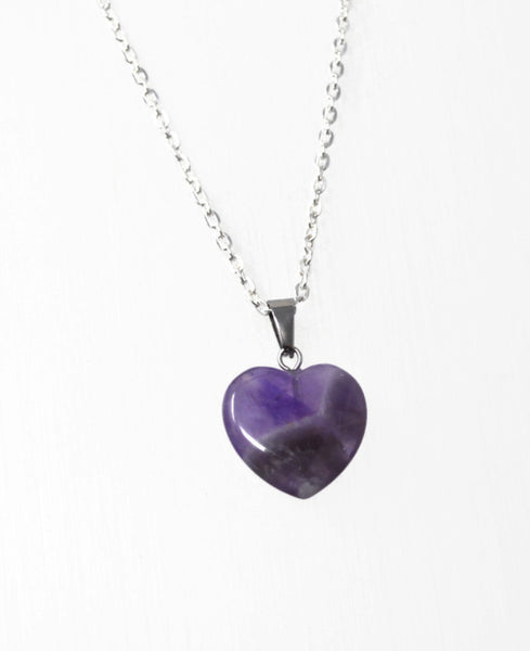 Genuine Amethyst Gemstone Heart Necklace. Amethyst Heart Pendant Necklace. Choose Length. Wish Knots.