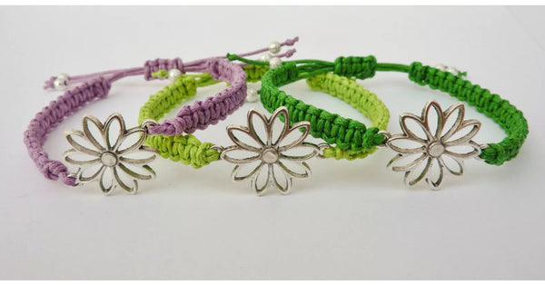 Hippie Daisy Bracelet - Macrame Flower Bracelet. Adjustable Stacking Bracelet. Choice of Colours.