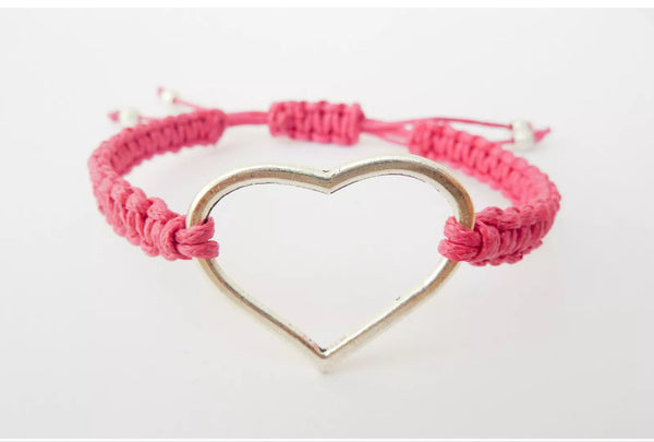 LOVE Heart Bracelet - Macrame Bracelet. Knotted Adjustable Bracelet. Choice of Colours