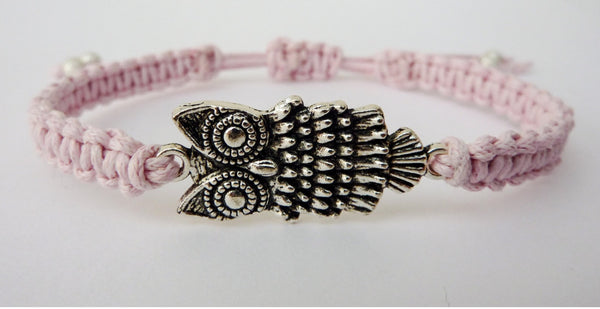 Owl Bracelet - Macrame Bracelet. Adjustable Friendship Bracelet. Choice of Colours