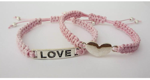 Pair of LOVE Heart Bracelets - Macrame Bracelet Set. Stacking Bracelets. Choice of Colours.