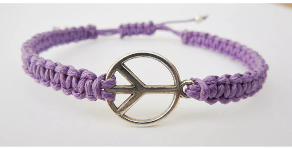 PEACE Macrame Bracelet - Hippie Bracelet. CND Peace Symbol. Festival Bracelet. Choice of Colours