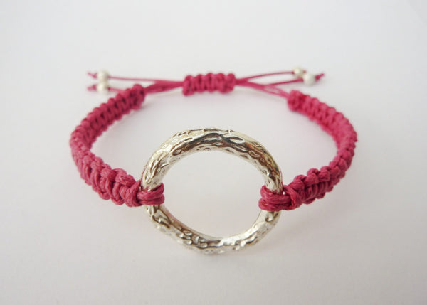 Karma Bracelet - Macrame Circle Bracelet. Infinity Ring Adjustable Bracelet. Choice of Colours