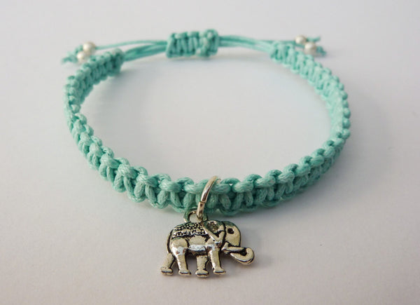 Elephant Bracelet - Lucky Elephant Charm. Macrame Bracelet. Choice of Colours.