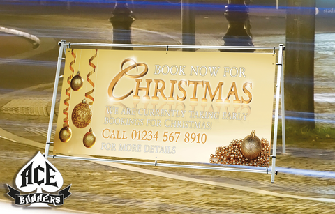 PVC Banner - Christmas Bookings - Gold