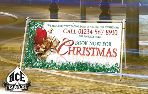 PVC Banner - Christmas Bookings - Red Bauble