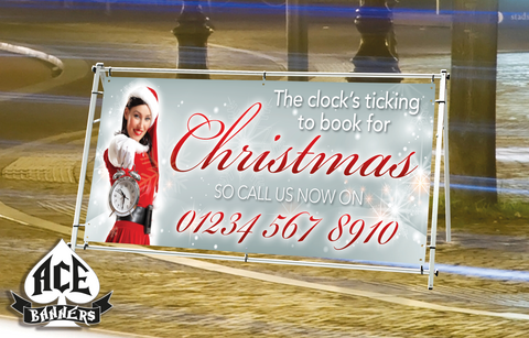 PVC Banner - Christmas Bookings - Silver