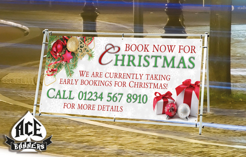 PVC Banner - Christmas Bookings - White