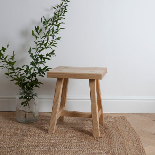 Simple, modern rustic ash stool or side table