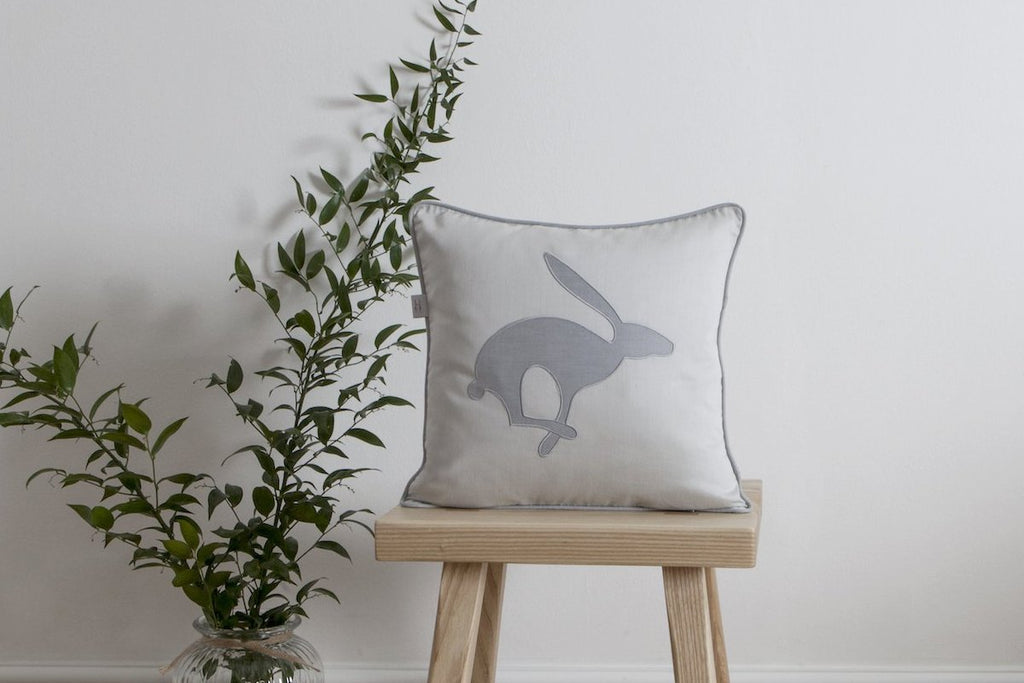 Jumping Hare Blue-Grey Light Cushion