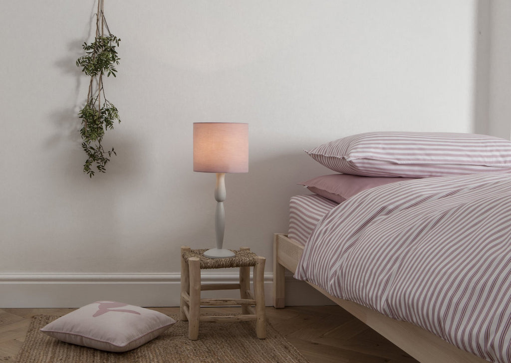 Pale Grey and Dusty Pink Painted Table Lamp