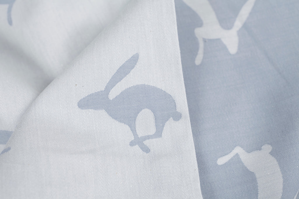 Running Hare Blue-Grey Reversible Fitted Sheet