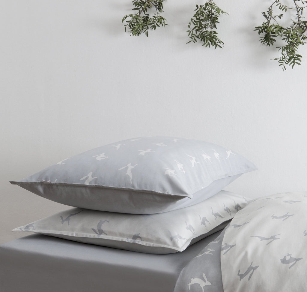 Running Hare Blue-Grey Dark Pillowcase