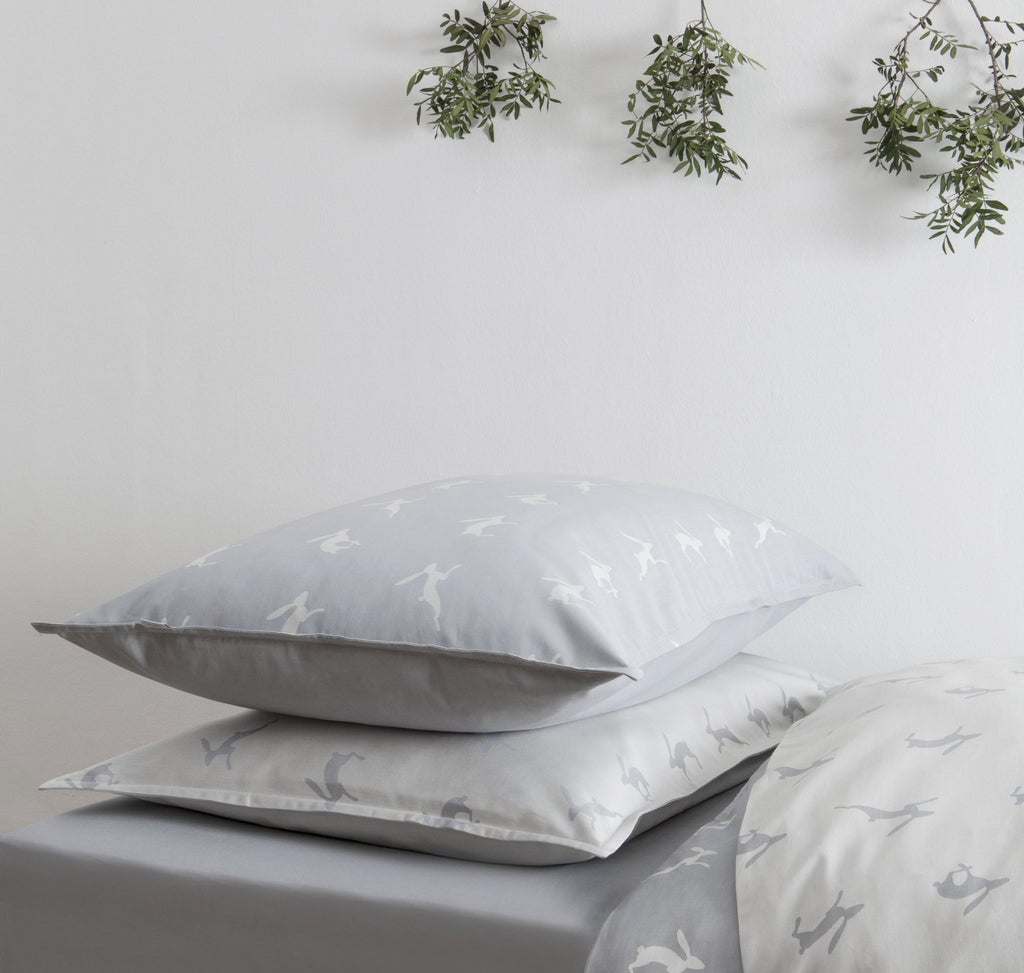 Running Hare Blue-Grey Light Pillowcase
