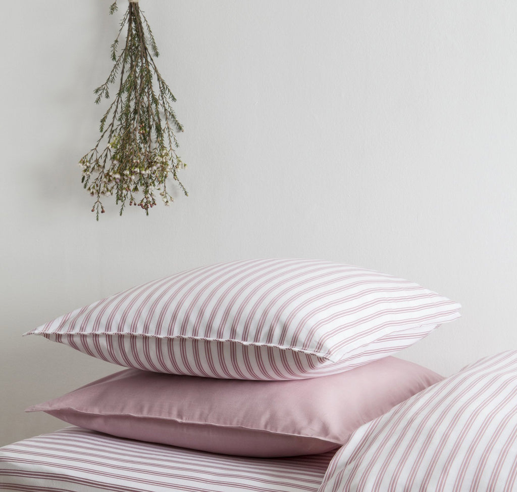 Ticking Stripe Rose Pink Pillowcase
