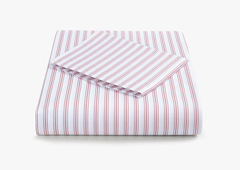 Ticking Stripe Rose Pink Cotbed Set