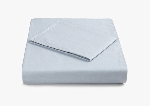 Plain Jacquard Reversible Blue-Grey Cot Bed Set