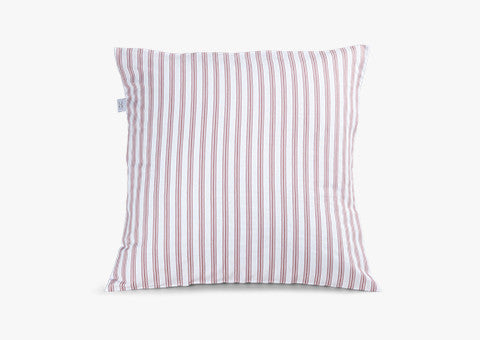 Ticking Stripe Rose Pink Cushion