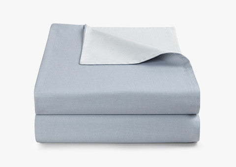 Plain Jacquard Reversible Blue-Grey Duvet Cover