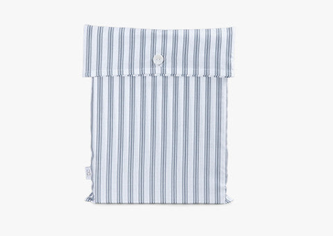 Ticking Stripe Blue-Grey Fitted Sheet