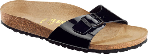 Birkenstock Women Madrid Birko-Flor® Black Patent Sandals Narrow Fit - Alna Vi Shoes