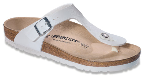 Birkenstock Women Gizeh Birko-Flor® Sandals in White Narrow Fit - Alna Vi Shoes
