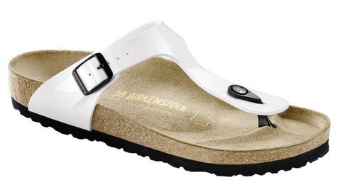 Birkenstock Women Gizeh Birko-Flor® Sandals White Patent Regular Fit - Alna Vi Shoes