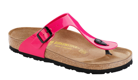 Birkenstock Women Gizeh Birko-Flor Sandals in Pink Patent Regular Fit - Alna Vi Shoes