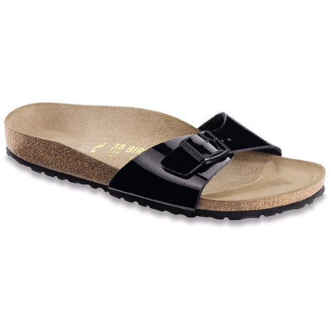 Birkenstock Women Madrid Birko-Flor® Black Patent Sandals Regular Fit - Alna Vi Shoes