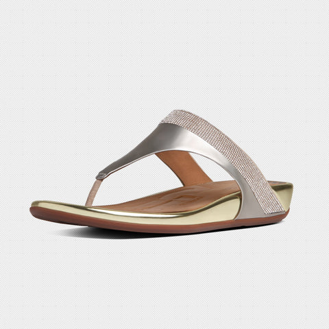 FitFlop™ Women Banda MC Toe-Post 473 308 Pale Gold LEATHER Sandals - Alna Vi Shoes