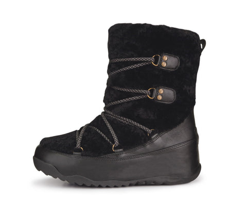 FitFlop™ Women Superblizz 165 001 Black LEATHER Snow Winter Boots - Alna Vi Shoes