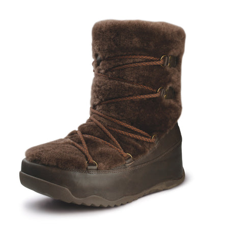 FitFlop™ Women Superblizz 165 030 Chocolate LEATHER Snow Winter Boots - Alna Vi Shoes