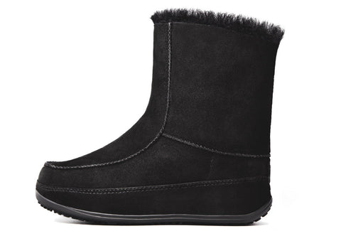 FitFlop™ Women Mukluk Moc2 320 001 Black Suede Snow Winter Boots - Alna Vi Shoes