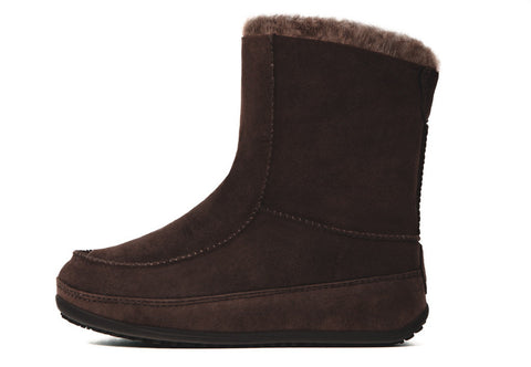 FitFlop™ Women Mukluk Moc2 320 030 Chocolate Suede Snow Winter Boots - Alna Vi Shoes