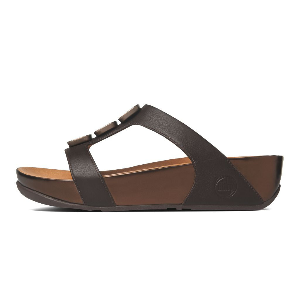 0a0a6e6f681 FitFlop™ Women Pietra II Slide 398 167 Chocolate Brown LEATHER ...