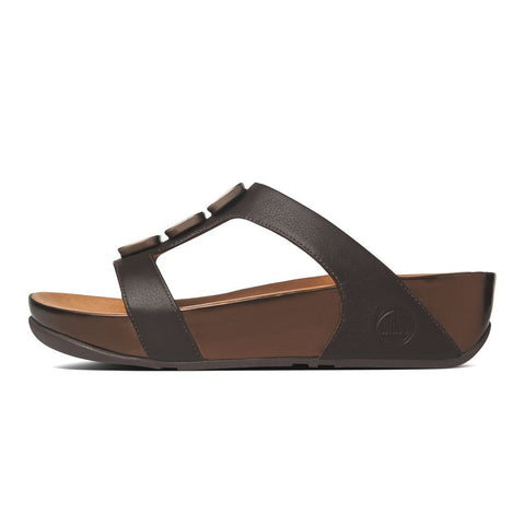 FitFlop™ Women PietraII Slide 398 167 Chocolate Brown LEATHER Sandals - Alna Vi Shoes