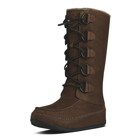 FitFlop™ Women Mukluk Moc2 Tall 456 167 Chocolate Brown Suede Snow Winter Boots - Alna Vi Shoes