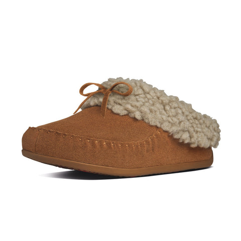 FitFlop? Women Cuddler SnugMoc 457 047 Chestnut LEATHER Slippers - Alna Vi Shoes